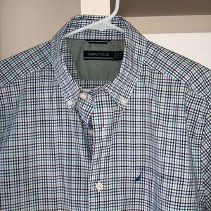 EUC NAUTICA Plaid Button Down Shirt sz M